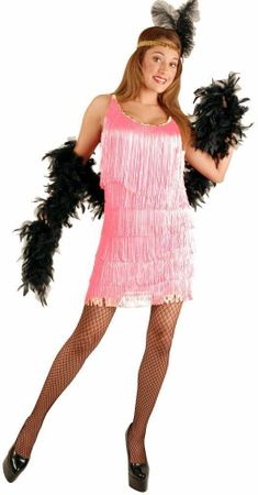 Plus Size Fringed Rose Pink Flapper Costume