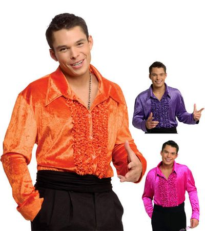 Adult Ruffled Velvet Disco Shirt - Purple, Orange, or Pink