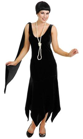 Adult Sandy Speakeasy Black Velvet Flapper Costume