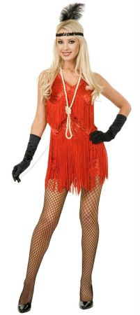 Adult Sexy Chicago Red Fringed Flapper Costume