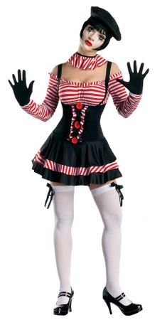 Adult Sexy Mime Costume, Size Large