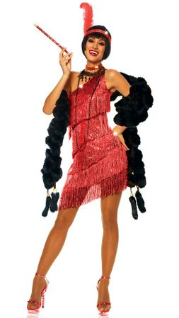 Adult Sexy Red Dazzling Flapper Costume