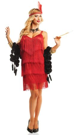Adult Sexy Red Hollywood Flapper Costume