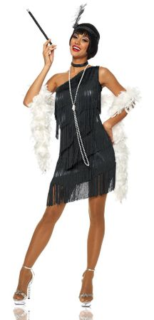 Adult Sexy Black Dazzling Flapper Costume