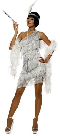 Adult Sexy Silver Dazzling Flapper Costume