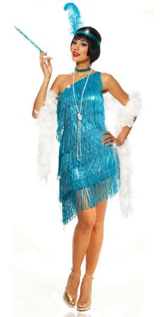 Adult Sexy Turquoise Dazzling Flapper Costume