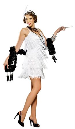 Adult Sexy White Hollywood Flapper Costume