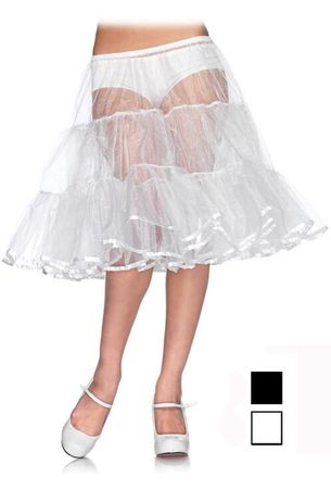 Adult Shimmer Organza Knee Length Petticoat - Black or White