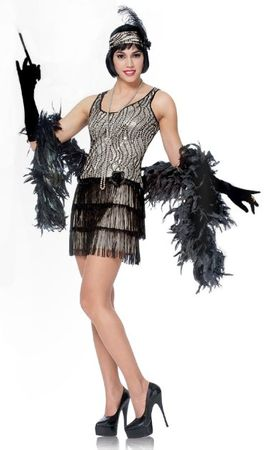 Adult Silver/Black Broadway Flapper Costume