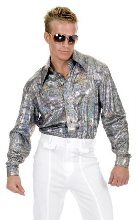 Adult Silver Iridescent Disco Shirt