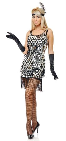 Adult Silver Starlet Sequin Flapper Costume