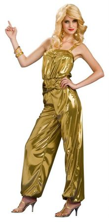 Adult Solid Gold Diva Disco Jumpsuit Costume, Size S/M