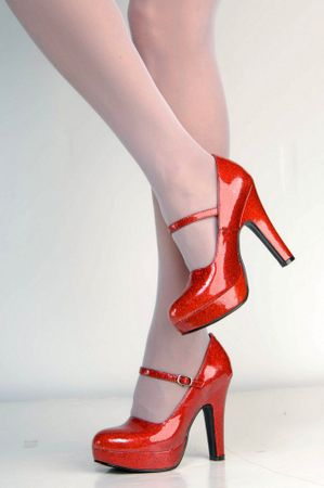 Adult Sparkling Red Platform Mary Jane Shoes