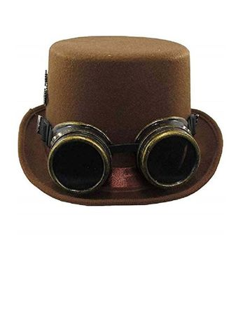 Adult Steampunk Hat with Goggles - Brown or Black