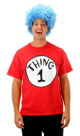 Adult Thing 1 Short Sleeve T-Shirt and Wig Costume