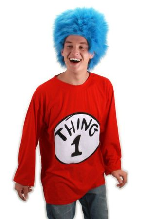 Adult Thing 1 Long-Sleeved T-Shirt and Blue Wig Costume, Size S/M