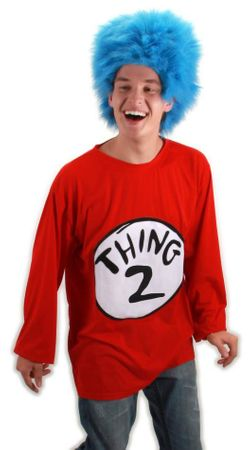 Adult Thing 2 T-Shirt and Blue Wig Costume, Size S/M