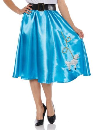 Adult Turquoise Satin Poodle Skirt