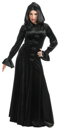 Adult Twilight Medieval Hooded Robe - Black