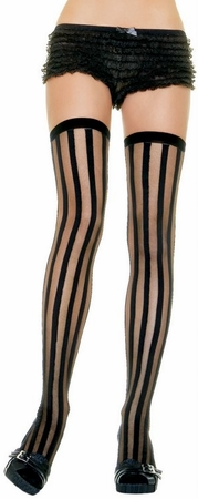 Adult Vertical Striped Thigh High Stockings