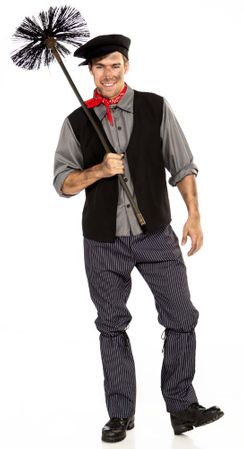 Adult Victorian Chimney Sweep Costume, Size M/L