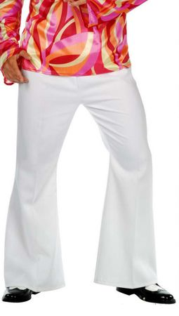 Adult White Bell Bottom Disco Pants