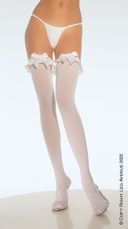 dcd10d387f6e9 Adult White Bow Thigh Highs - Candy Apple Costumes - Angel Costumes