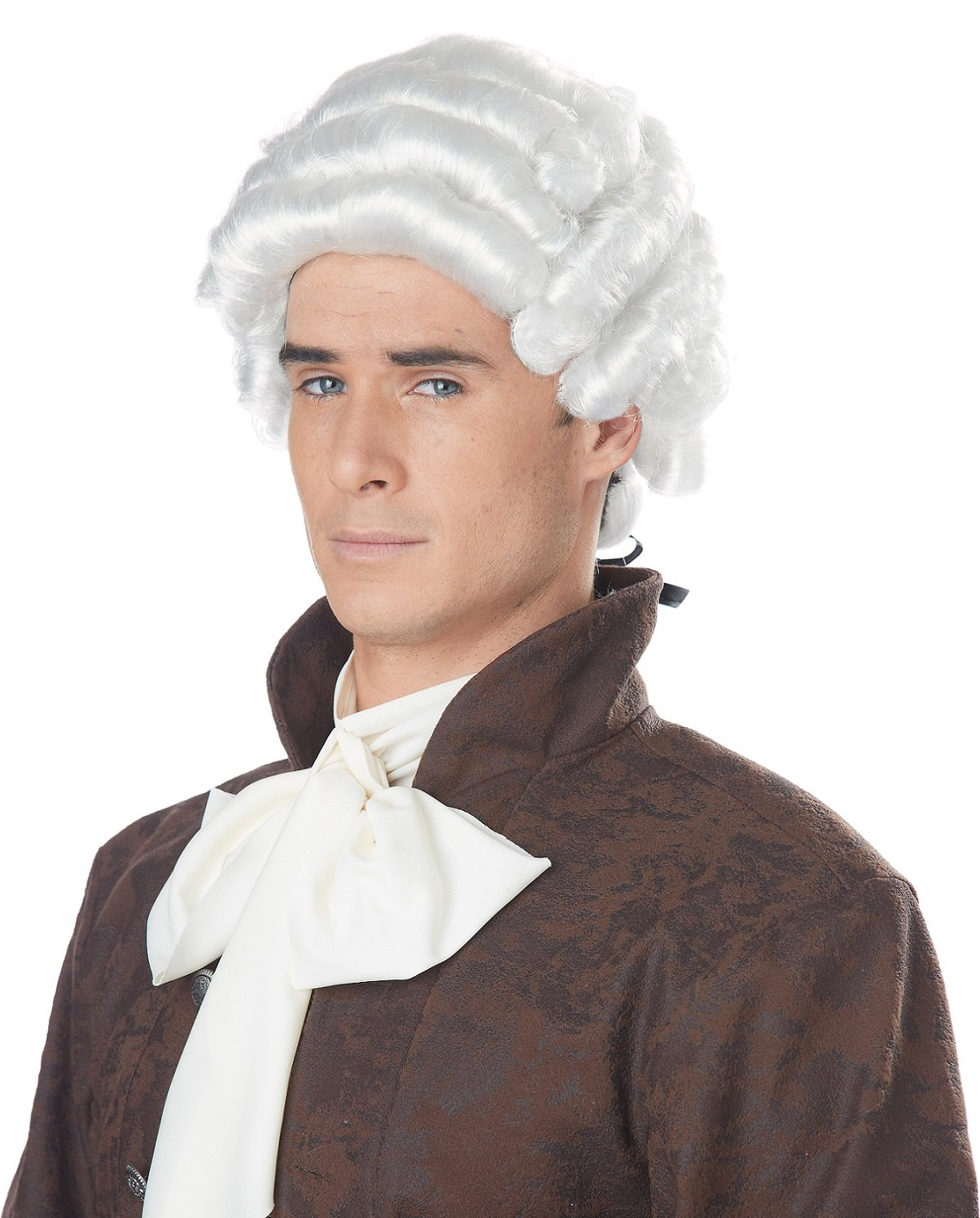 White Colonial Style Costume Wig w//Ponytail for Adults Kids Mens White Colonial Wig