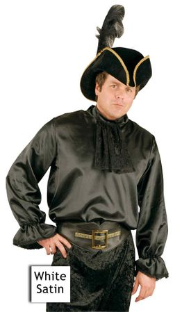 Adult White Satin Colonial Pirate Shirt with Jabot