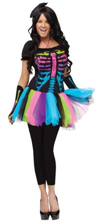 Adult Women's Funky Punk Bones Skeleton Costume