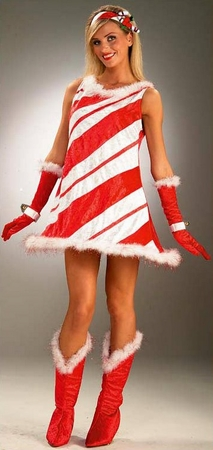 Adult Women's Miss Candy Cane Costume, Size M/L