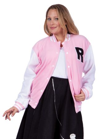 Adult Women's Plus Size Pink Letterman Jacket Costume