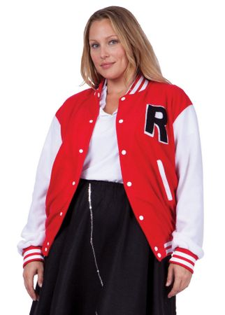 Adult Women's Plus Size Red Letterman Jacket Costume