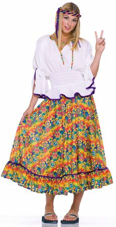 Adult Woodstock Girl Hippie Costume, Size M/L