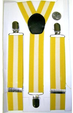 Adult Yellow/White Striped Suspenders