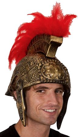 Antiqued Gold Feathered Roman Helmet