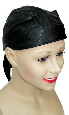 Biker Black Leather Skull Cap