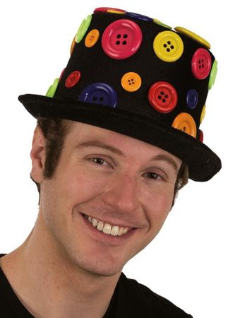 Black Clown Top Hat with Buttons