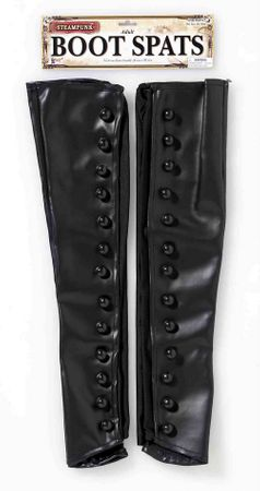 Black Faux Leather Steampunk Boot Spats