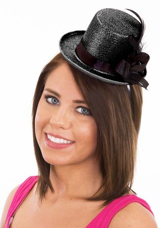 Black Glitter Mini Top Hat With Feathers