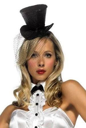 10ef277374aaa Black Glitter Mini Top Hat with Veil - Candy Apple Costumes - Steampunk  Costumes