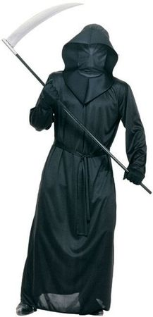 Adult Black Mesh Face Robe Costume, Size M/L