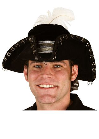 Black Pirate Hat With Silver Rings