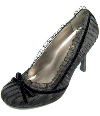 Black Pleated Satin Pumps