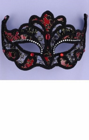 Black/Red Lace Mask