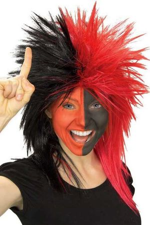 Black/Red Sports Fan Wig
