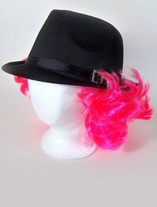 Black Satin Fedora Hat With Hot Pink Wig