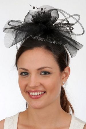 Black/Silver Fascinator Headband With Feathers and Beads
