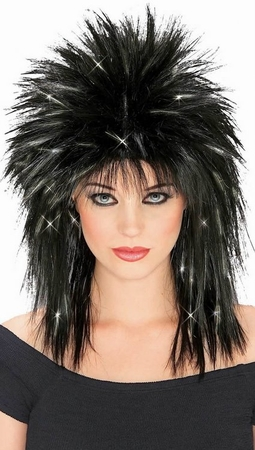 Black Superstar Wig with Silver Tinsel