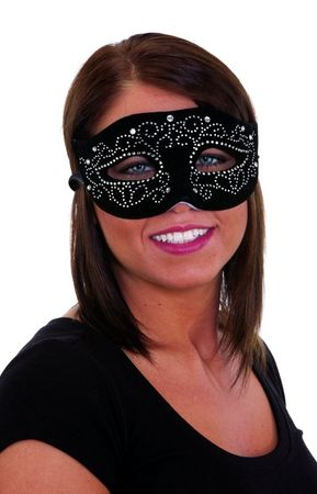 Black Velvet Mask With Rhinestones